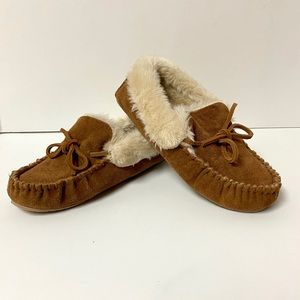 J. Crew Suede Moccasin w/ faux shearling lining.